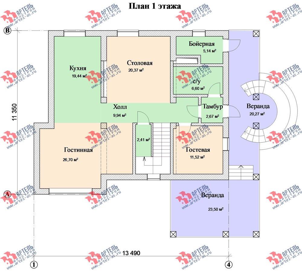 трёхэтажный дом из камня площадью свыше 200 кв. м. с  балконом, верандой, мансардой, проект Вариант 21 фотография 3142