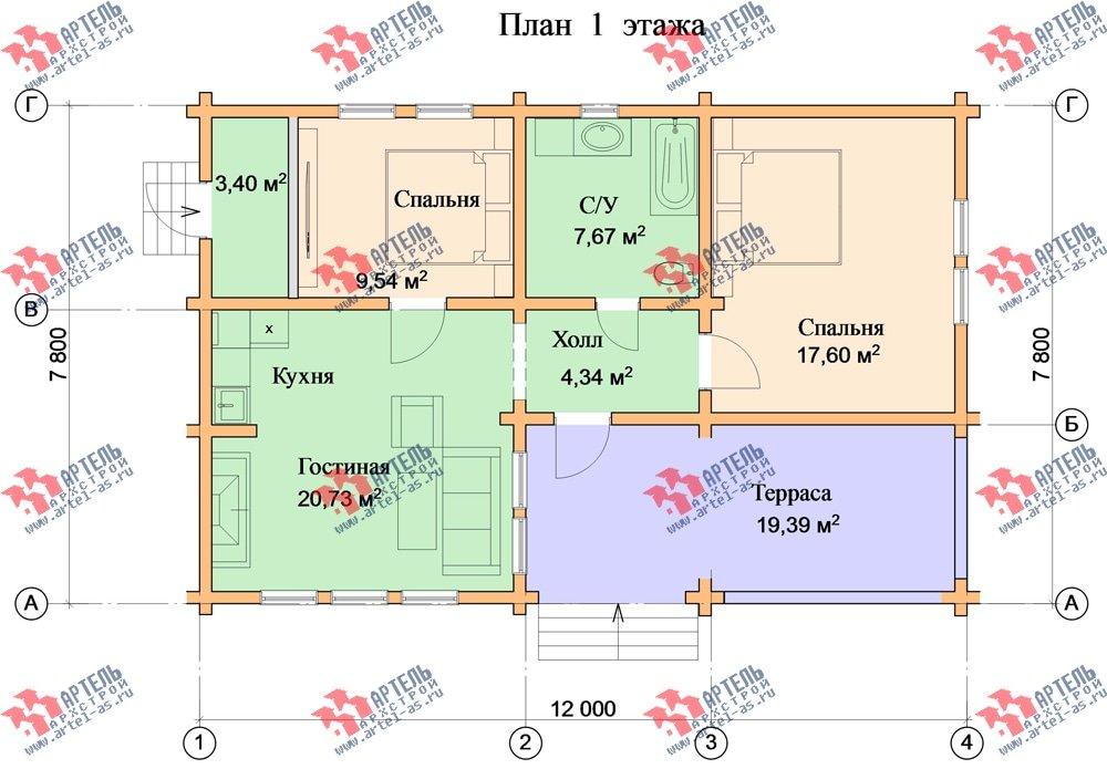 одноэтажный дом из бруса площадью до 100 кв. м. с  террасой, проект Вариант 7.8 А-1 фотография 3316