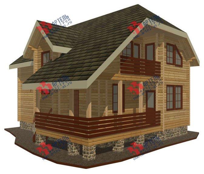 двухэтажный дом из профилированного бруса площадью от 100 до 150 кв. м. с  верандой, мансардой, эркером, проект Вариант 8.2 К фотография 350