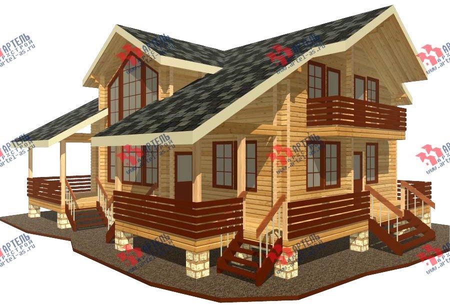 двухэтажный дом из профилированного бруса площадью свыше 200 кв. м. с  балконом, мансардой, террасой, эркером, проект Вариант 11 К фотография 428