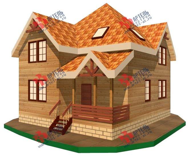 двухэтажный дом из бруса площадью от 150 до 200 кв. м. с  верандой, проект Вариант 8.6 А фотография 1157