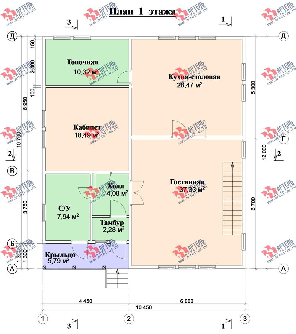 двухэтажный дом из бруса площадью свыше 200 кв. м. с  балконом, проект Вариант 10.7 А фотография 2251