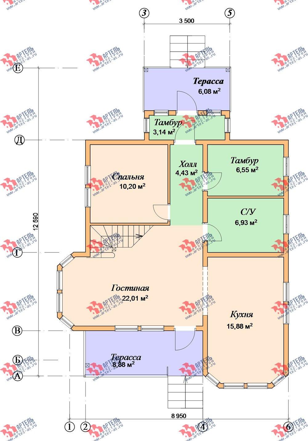 двухэтажный дом из бруса площадью от 150 до 200 кв. м. с  балконом, мансардой, террасой, эркером, проект Вариант 8 К-3 фотография 2468