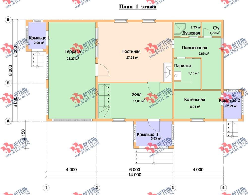 двухэтажный дом из бруса площадью свыше 200 кв. м. с  балконом, террасой, проект Вариант 8 Г-1 фотография 2491