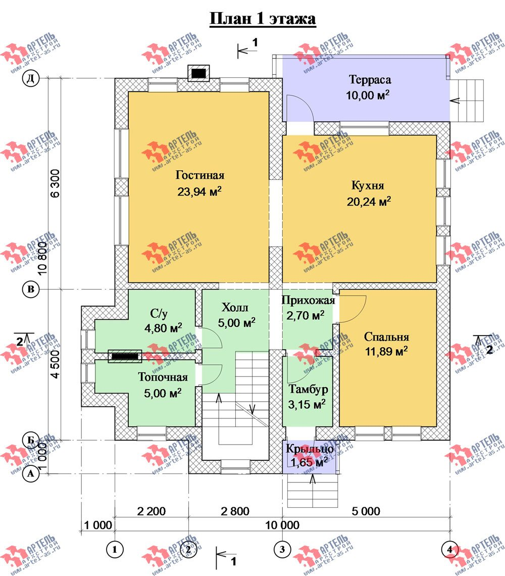 двухэтажный дом из камня площадью от 150 до 200 кв. м. с  балконом, эркером, проект Вариант 26 фотография 2829