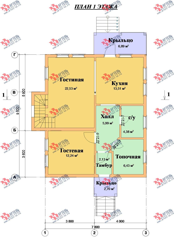 двухэтажный дом из профилированного бруса камерной сушки площадью от 100 до 150 кв. м. с  мансардой, проект Вариант 4 фотография 2513