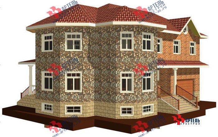 двухэтажный дом из камня площадью свыше 200 кв. м. с  верандой, гаражом, террасой, эркером, проект Вариант 2 фотография 454