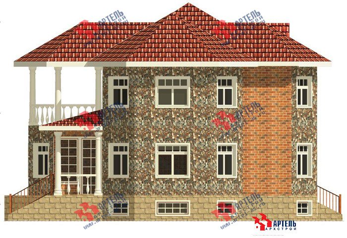 двухэтажный дом из камня площадью свыше 200 кв. м. с  верандой, гаражом, террасой, эркером, проект Вариант 2 фотография 455