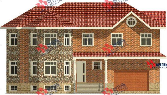 двухэтажный дом из камня площадью свыше 200 кв. м. с  верандой, гаражом, террасой, эркером, проект Вариант 2 фотография 456