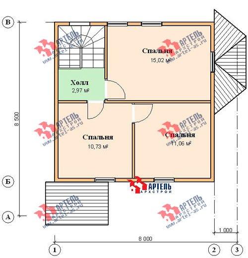 двухэтажный дом из профилированного бруса площадью до 100 кв. м. с  мансардой, эркером, проект Вариант 7 Е фотография 833