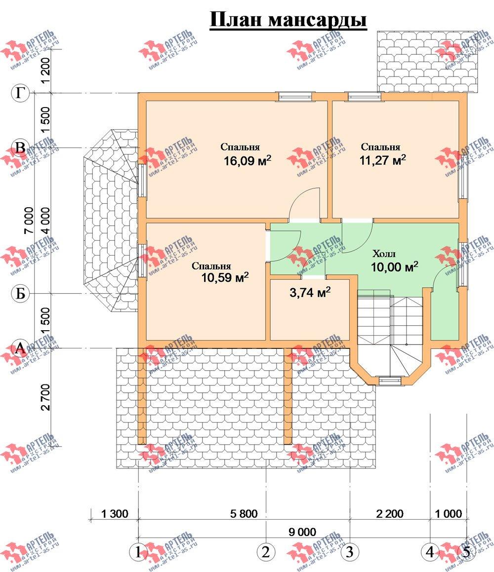 двухэтажный дом из профилированного бруса камерной сушки площадью от 100 до 150 кв. м. с  мансардой, эркером, проект Вариант 2 фотография 2536