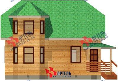 двухэтажный дом из профилированного бруса площадью от 100 до 150 кв. м. с  балконом, мансардой, эркером, проект Вариант 6 К фотография 742