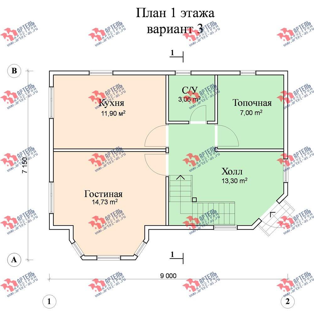 двухэтажный дом из профилированного бруса площадью от 100 до 150 кв. м. с  балконом, мансардой, эркером, проект Вариант 6 К фотография 752