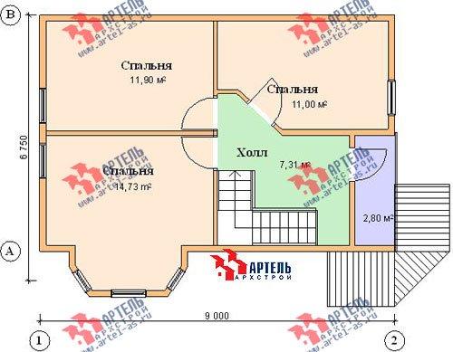 двухэтажный дом из профилированного бруса площадью от 100 до 150 кв. м. с  балконом, мансардой, эркером, проект Вариант 6 К фотография 749