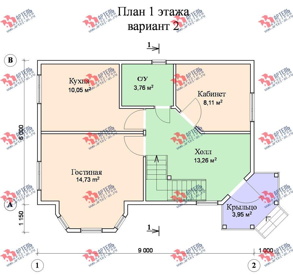 двухэтажный дом из профилированного бруса площадью от 100 до 150 кв. м. с  балконом, мансардой, эркером, проект Вариант 6 К фотография 750