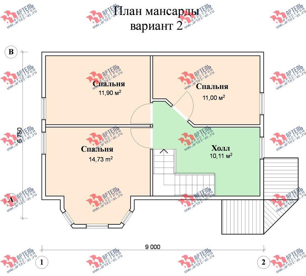 двухэтажный дом из профилированного бруса площадью от 100 до 150 кв. м. с  балконом, мансардой, эркером, проект Вариант 6 К фотография 751