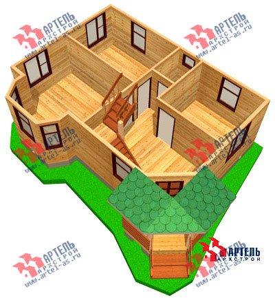 двухэтажный дом из профилированного бруса площадью от 100 до 150 кв. м. с  балконом, мансардой, эркером, проект Вариант 6 К фотография 746