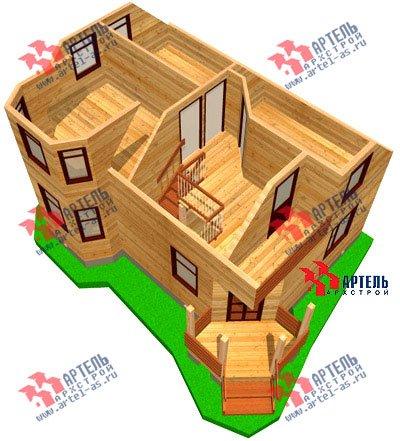 двухэтажный дом из профилированного бруса площадью от 100 до 150 кв. м. с  балконом, мансардой, эркером, проект Вариант 6 К фотография 747