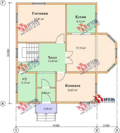 двухэтажный дом из бруса площадью от 150 до 200 кв. м. с  мансардой, эркером, проект Вариант 10 Б фотография 1340