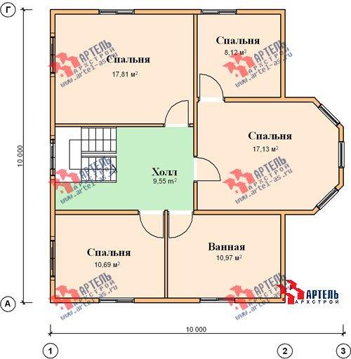 двухэтажный дом из бруса площадью от 150 до 200 кв. м. с  мансардой, эркером, проект Вариант 10 Б фотография 1341