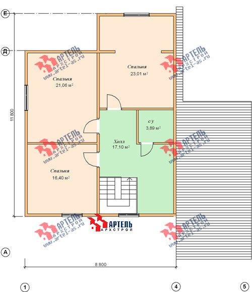 двухэтажный дом из бруса площадью свыше 200 кв. м. с  верандой, гаражом, мансардой, проект Вариант 12.8 А фотография 1450