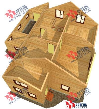 двухэтажный дом из бруса площадью свыше 200 кв. м. с  верандой, гаражом, мансардой, проект Вариант 12.8 А фотография 1448