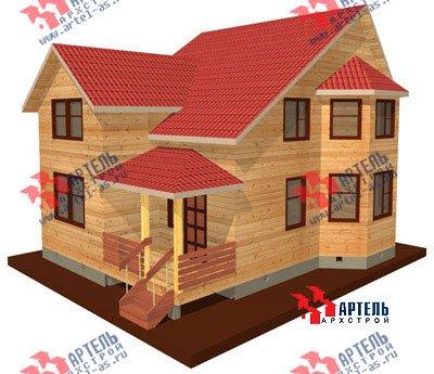 двухэтажный дом из бруса площадью от 100 до 150 кв. м. с  балконом, мансардой, террасой, эркером, проект Вариант 7.5 В фотография 934