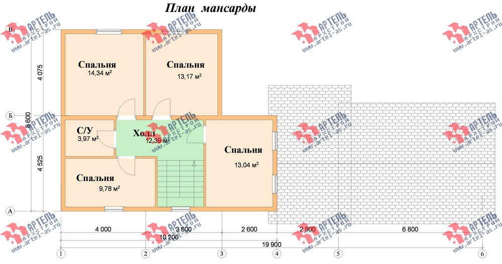 двухэтажный дом из бруса площадью от 150 до 200 кв. м. с  гаражом, мансардой, проект Вариант 8.6 Б фотография 2442