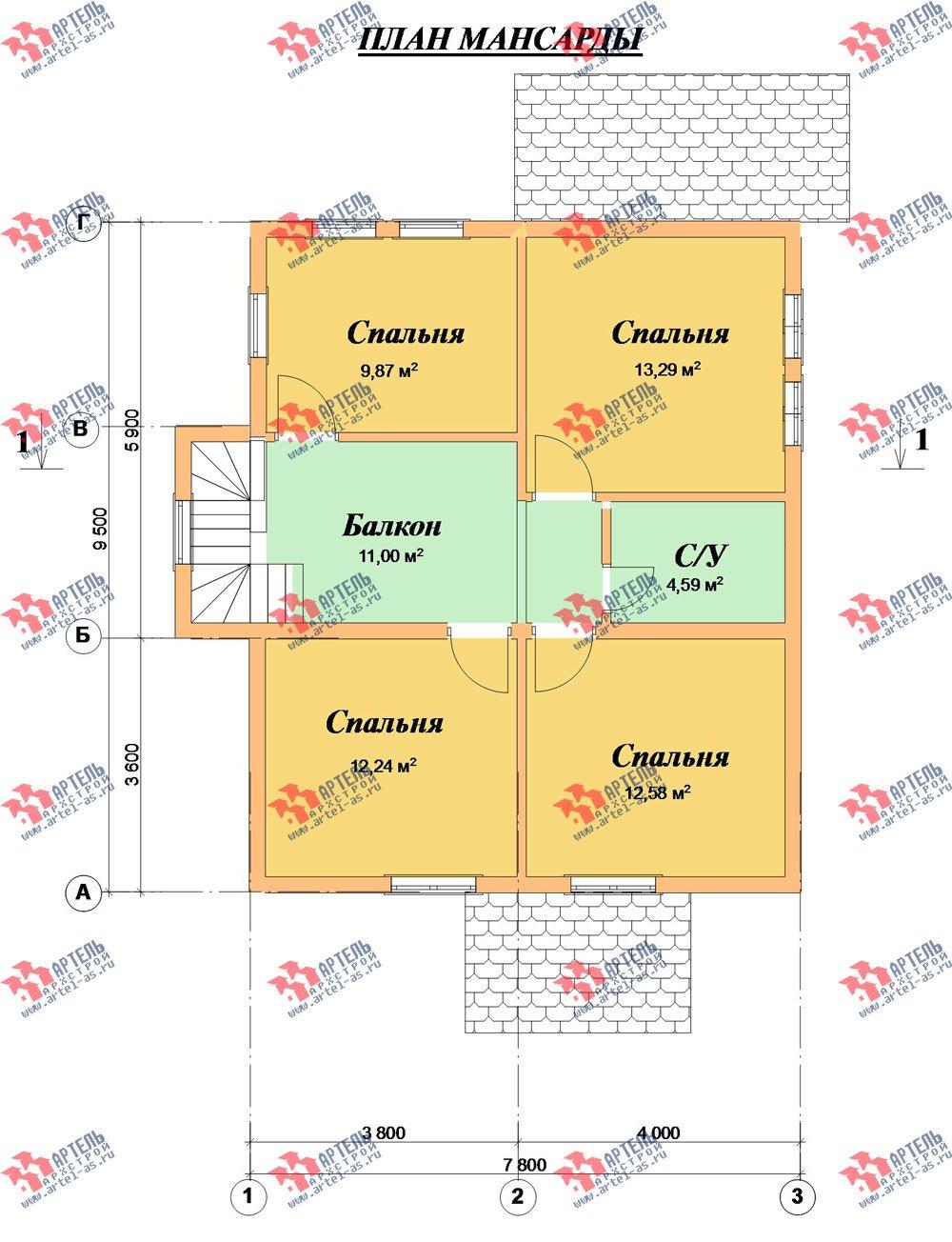 двухэтажный дом из профилированного бруса камерной сушки площадью от 100 до 150 кв. м. с  мансардой, проект Вариант 4 фотография 2514
