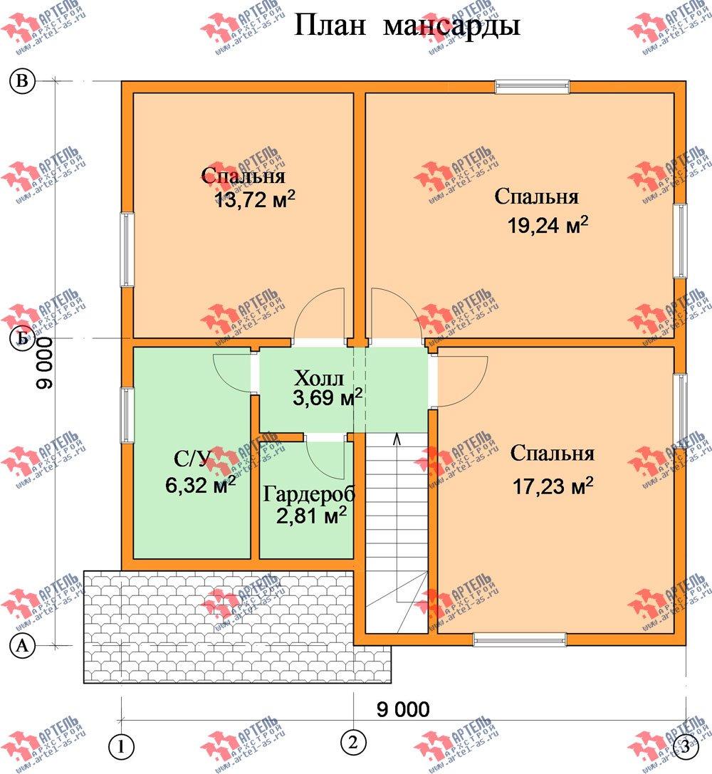 двухэтажный дом из бруса площадью от 100 до 150 кв. м. с  мансардой, проект Вариант 9 Ж-1 фотография 2573