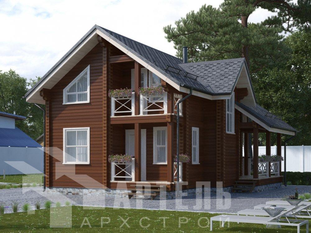 одноэтажный дом из профилированного бруса площадью от 100 до 150 кв. м. с  террасой, проект Вариант 9.8 К фотография 2610