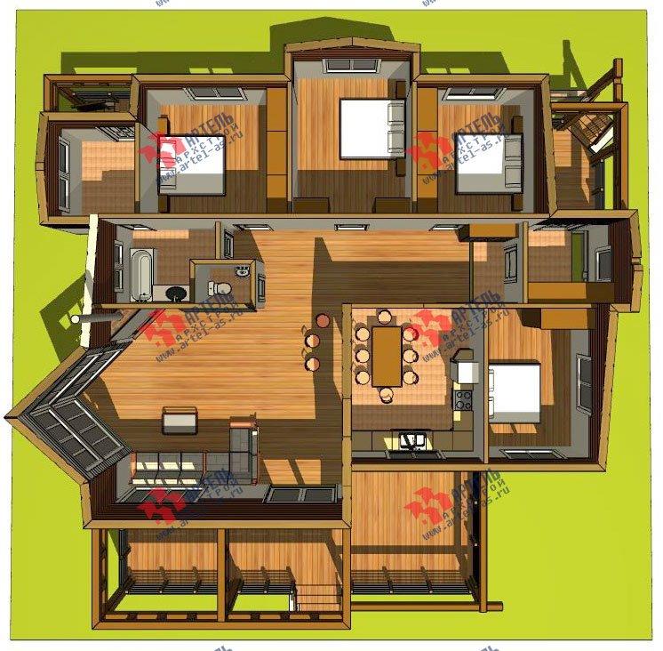 одноэтажный дом из профилированного бруса камерной сушки площадью от 150 до 200 кв. м. с  террасой, эркером, проект Вариант 5 фотография 2668