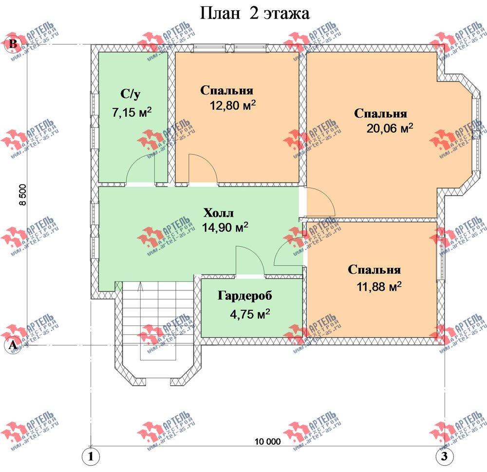 двухэтажный дом из профилированного бруса камерной сушки площадью от 150 до 200 кв. м. с  террасой, эркером, проект Вариант 8 фотография 2816