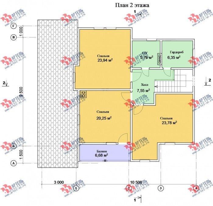 двухэтажный дом из профилированного бруса площадью от 150 до 200 кв. м. с  балконом, террасой, эркером, проект Вариант 10.8 А фотография 4787
