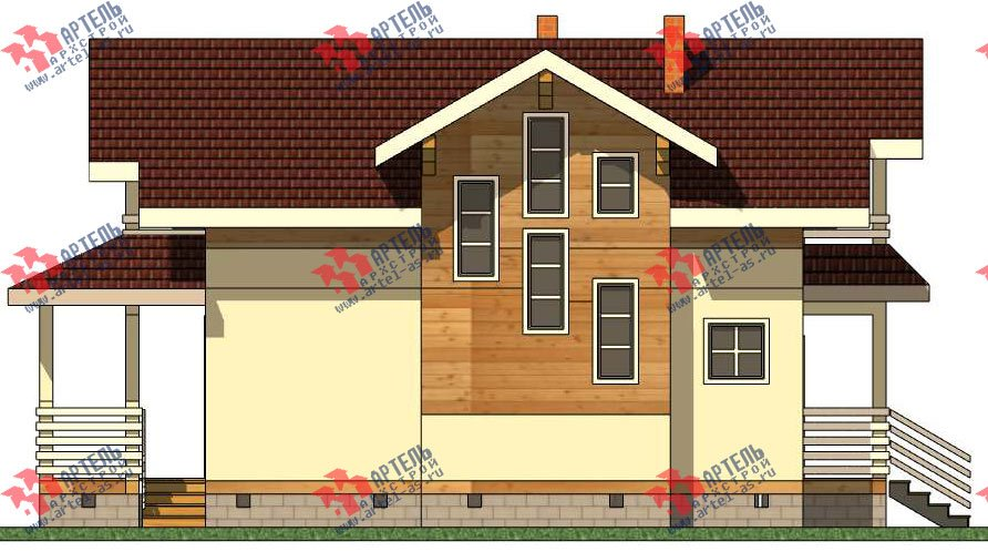 двухэтажный каркасный дом площадью от 100 до 150 кв. м. с  балконом, террасой, эркером, проект Вариант 9 фотография 2992