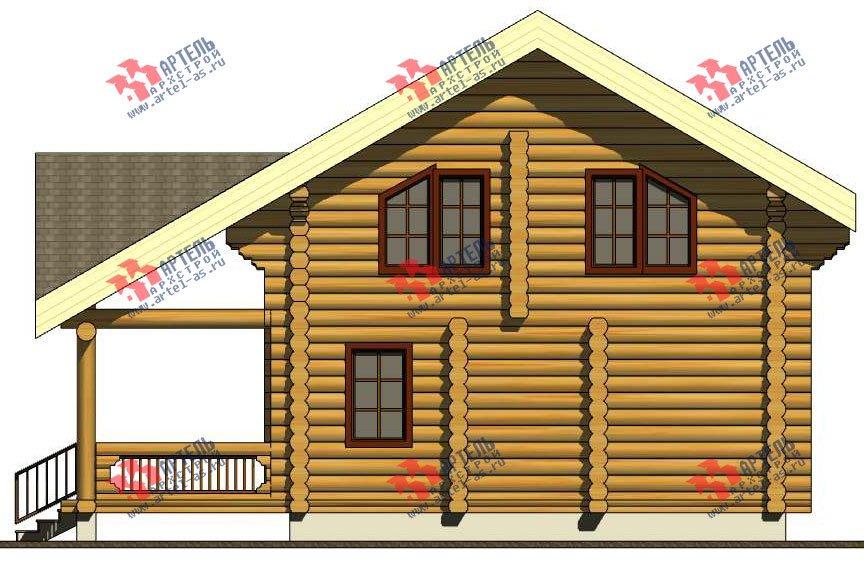двухэтажный дом из оцилиндрованного бревна площадью от 100 до 150 кв. м. с  террасой, проект Вариант 4 фотография 3058