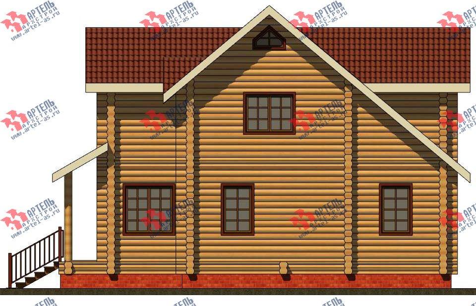 двухэтажный дом из оцилиндрованного бревна площадью от 100 до 150 кв. м. с  террасой, проект Вариант 6 фотография 3093