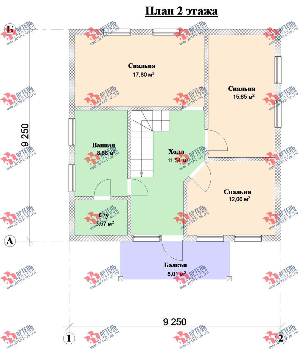 двухэтажный дом из камня площадью от 150 до 200 кв. м. с  балконом, проект Вариант 7 фотография 3141