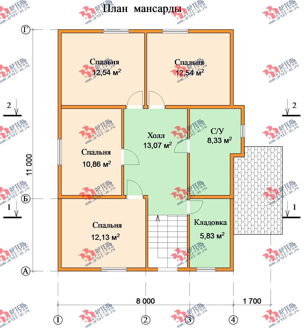 двухэтажный дом из бруса площадью от 150 до 200 кв. м. с  мансардой, проект Вариант 11 Л-2 фотография 3174