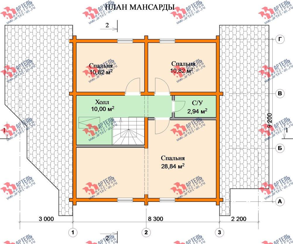 двухэтажный дом из профилированного бруса площадью от 150 до 200 кв. м. с  мансардой, террасой, проект Вариант 8.3 А фотография 3233