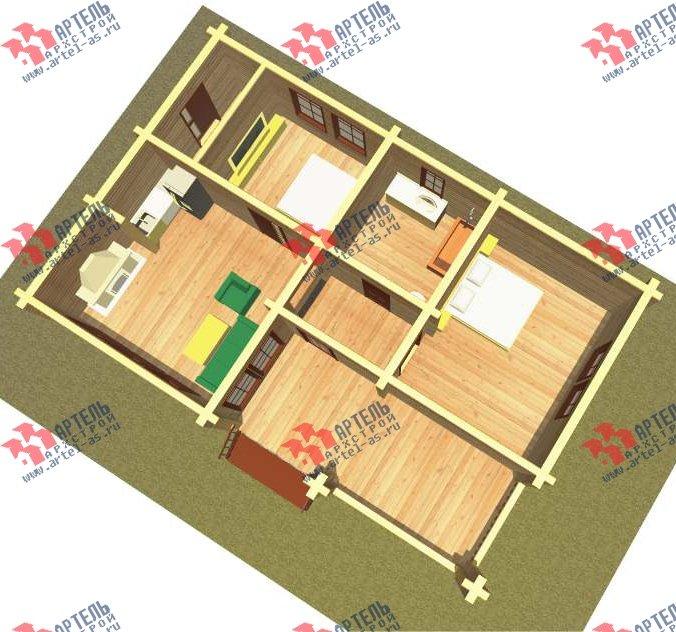 одноэтажный дом из бруса площадью до 100 кв. м. с  террасой, проект Вариант 7.8 А-1 фотография 3311