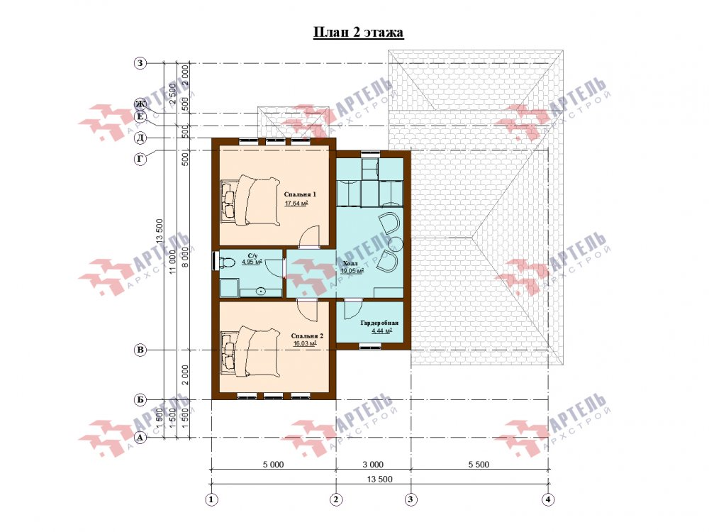 двухэтажный дом из профилированного бруса площадью до 100 кв. м. с  мансардой, эркером, проект Вариант 7 Г фотография 143