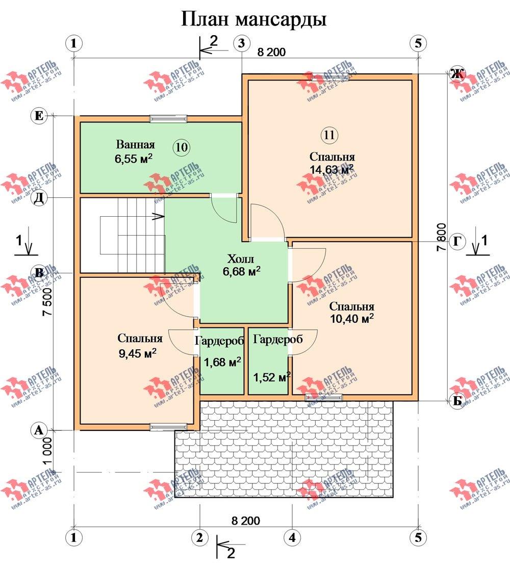 двухэтажный дом из бруса площадью от 100 до 150 кв. м. с  мансардой, эркером, проект Вариант 8.2 А фотография 2181