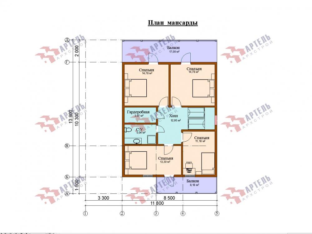 двухэтажный дом из профилированного бруса площадью от 100 до 150 кв. м. с  мансардой, эркером, проект Вариант 7 И фотография 154