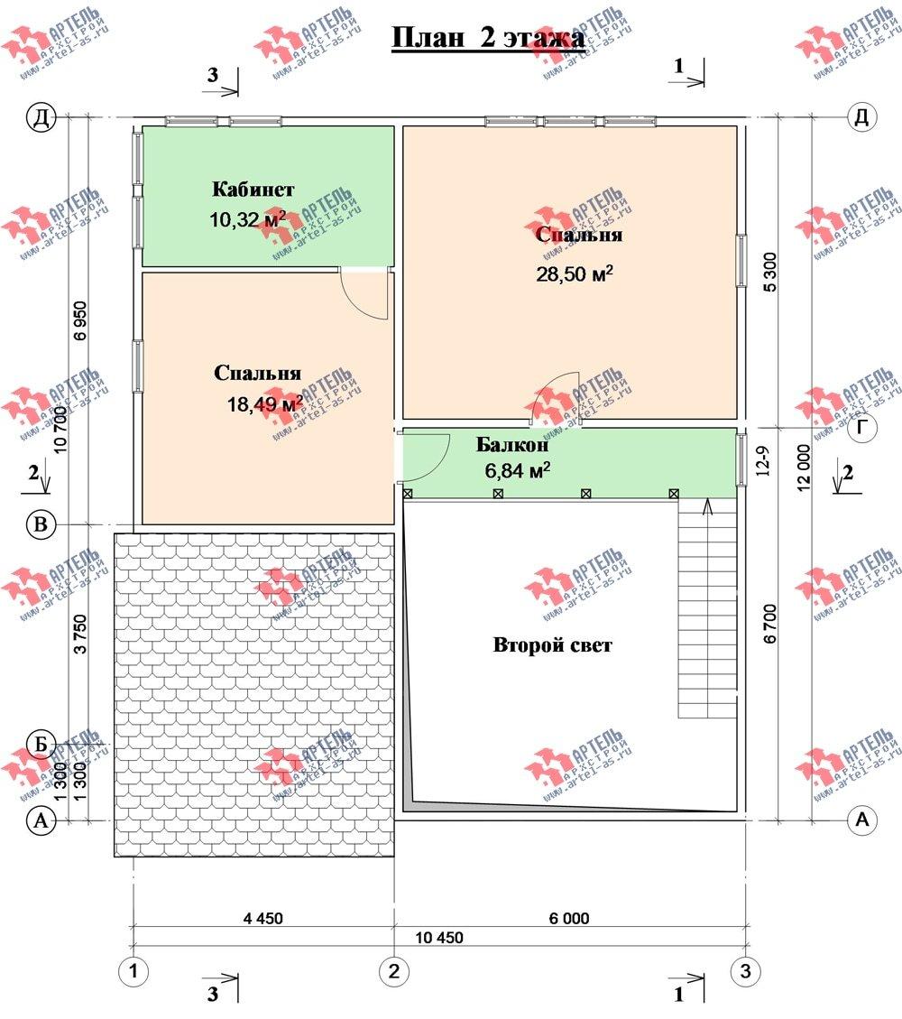 двухэтажный дом из бруса площадью свыше 200 кв. м. с  балконом, проект Вариант 10.7 А фотография 2252