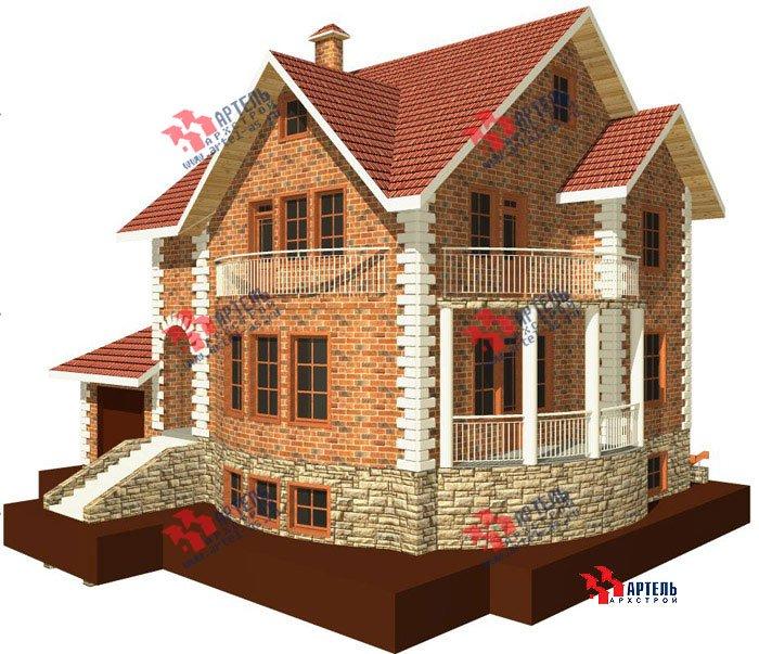 трёхэтажный дом из камня площадью свыше 200 кв. м. с  балконом, гаражом, террасой, эркером, проект Вариант 3 фотография 466