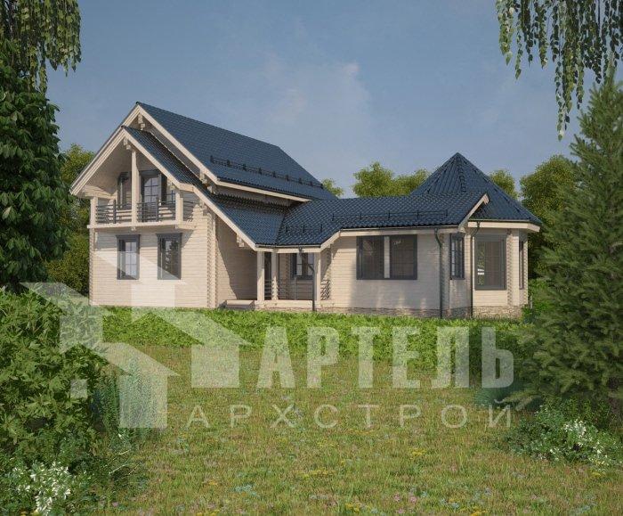 двухэтажный дом из профилированного бруса площадью от 150 до 200 кв. м. с  балконом, мансардой, эркером, проект Вариант 9 Е-1 фотография 4743