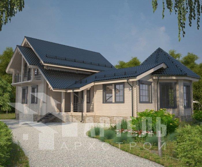 двухэтажный дом из профилированного бруса площадью от 150 до 200 кв. м. с  балконом, мансардой, эркером, проект Вариант 9 Е-1 фотография 4744