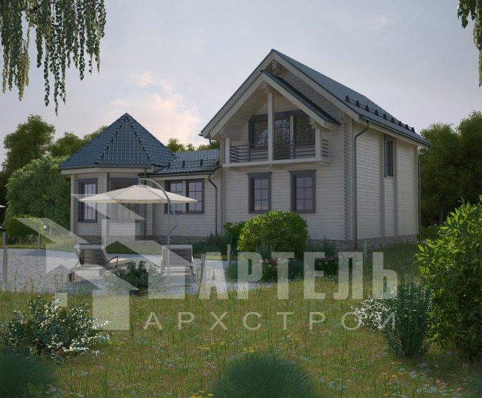 двухэтажный дом из профилированного бруса площадью от 150 до 200 кв. м. с  балконом, мансардой, эркером, проект Вариант 9 Е-1 фотография 4746