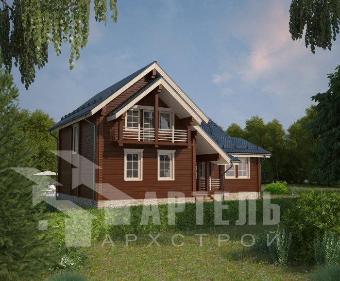 двухэтажный дом из профилированного бруса площадью от 150 до 200 кв. м. с  балконом, мансардой, эркером, проект Вариант 9 Е-1 фотография 4748